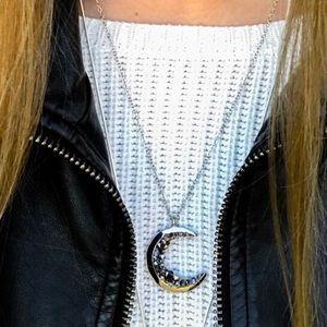 Crescent Moon necklace silver tone stone encrusted